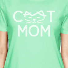 Load image into Gallery viewer, Cat Mom Women's Mint Round Neck T Shirt Gift Ideas For New Moms