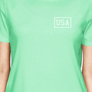 Mini USA Womens Trendy Design Cotton T-Shirt For Independence Day