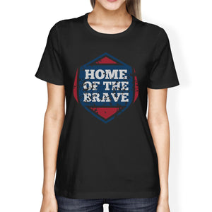 Home Of The Brave American Flag Shirt Womens Black Graphic Tshirt