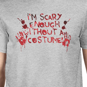 Scary Without A Costume Bloody Hands Mens Grey Shirt