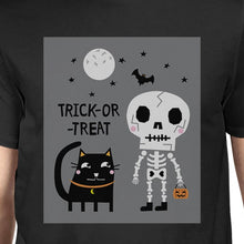 Load image into Gallery viewer, Trick-Or-Treat Skeleton Black Cat Mens Black Shirt