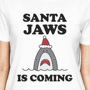 Santa Jaws Is Coming Womens White Shirt