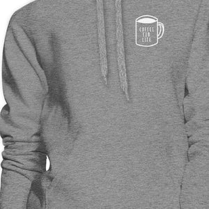 Coffee For Life Unisex Grey Hoodie For Coffee Lover For Coworkers