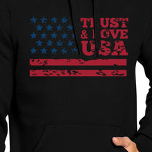 Load image into Gallery viewer, Trust & Love USA Unisex Black Hoodie Crewneck Pullover Fleece Gift