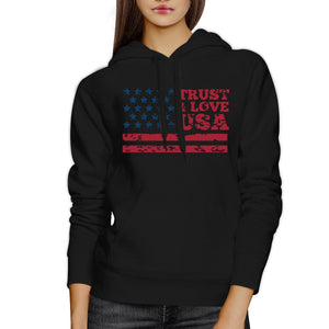 Trust & Love USA Unisex Black Hoodie Crewneck Pullover Fleece Gift