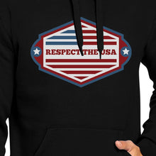 Load image into Gallery viewer, Respect The USA Unisex Black Hoodie Crewneck Pullover Fleece Gifts