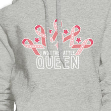 Load image into Gallery viewer, Won The Battle Queen Breast Cancer Awareness Grey Hoodie