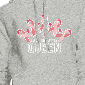 Won The Battle Queen Breast Cancer Awareness Grey Hoodie