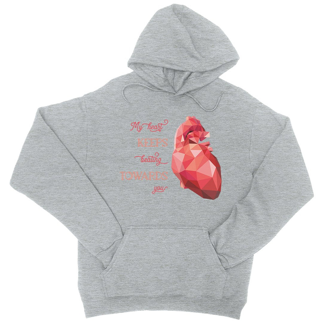 Geometric Heart Beating Unisex Pullover Hoodie For Anniversary Gift
