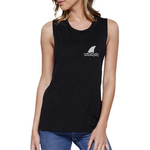 Load image into Gallery viewer, Mini Shark Black Womens Lightweight Cool Summer Muscle Tank Top