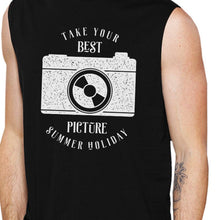 Load image into Gallery viewer, Take Your Best Picture Summer Holiday Mens Black Muscle Top