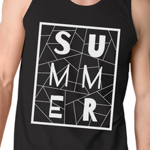 Load image into Gallery viewer, Summer Geometric Lettering Mens Black Sleeveless Shirt For Summer