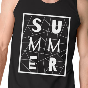 Summer Geometric Lettering Mens Black Sleeveless Shirt For Summer