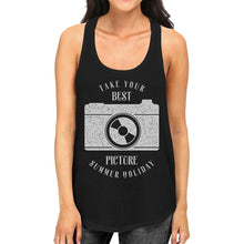 Load image into Gallery viewer, Take Your Best Picture Summer Holiday Womens Black Tank Top