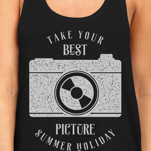 Take Your Best Picture Summer Holiday Womens Black Tank Top