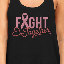 Load image into Gallery viewer, Fight Together Breast Cancer Awareness Womens Black Tank Top