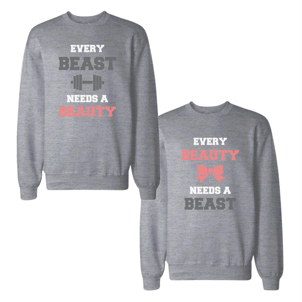Beauty And Beast Needs Each Others Couple Tops Matching Sweatshirts