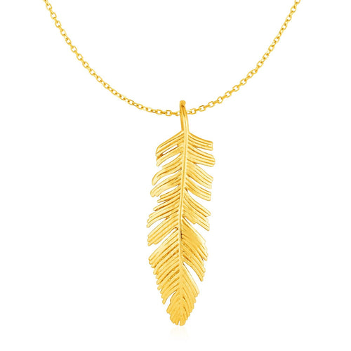 Feather Pendant in 10k Yellow Gold