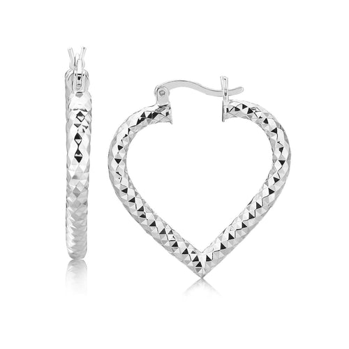Sterling Silver Rhodium Plated Heart Style Hoop Diamond Cut Earrings