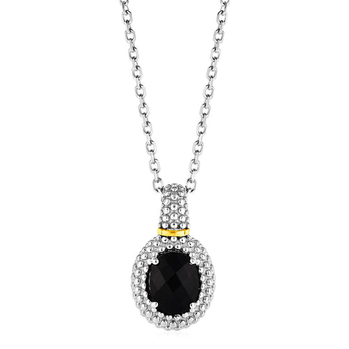 Necklace with Oval Onyx Pendant in Sterling Silver and 18k Yellow Gold