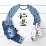 Runnin' on Jesus & Pumpkin Spice - Premium Baseball Tee