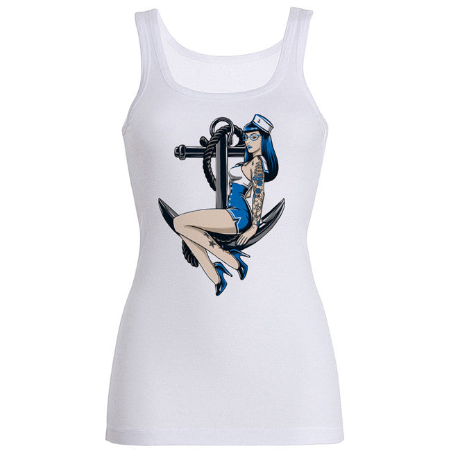 Pin up Blue ink Tank-Top