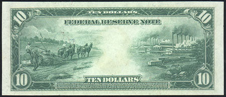 1914 edition of the 10 dollar bill depicting farmers plowing a hemp field