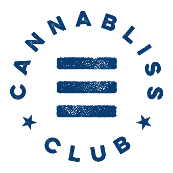 cannabliss club logo. navy blue words encircling three navy blue stacked bars and two stars that are vaguely reminiscent of the american flag