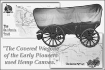 covered wagon made of hemp canvas