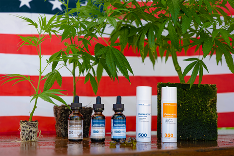 HempLand USA Cannabitol products lined up next to juvenile hemp plants, placed in front of an American flag