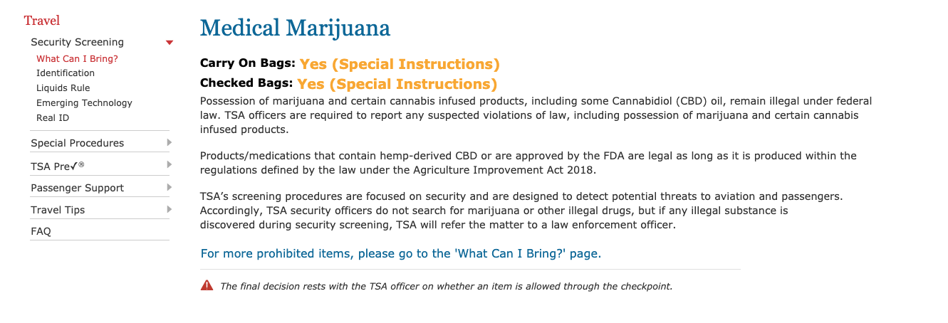 screenshot of the FDA's policy on bringing medical marijuana on planes. It indicates that it is allowed with special provisions