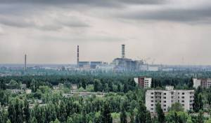 Chernobyl nuclear reactor site with hemp planted around it