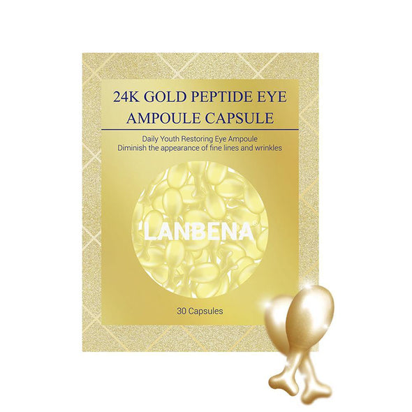 LANBENA 24K Gold Peptide Wrinkles Eye Ampoule Capsule Eye Serum Anti-Aging Fine Lines Dark Circle Eye Patches Eye Cream 5 Grain