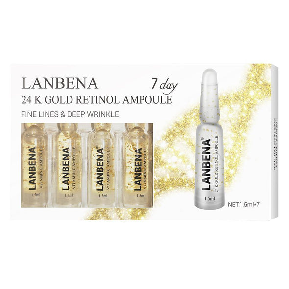LANBENA 24K Gold Retinol Ampoule Serum Anti-Aging Wrinkle Lifting Firming Remove fine lines Moisturizing Nourishing For 7 Days