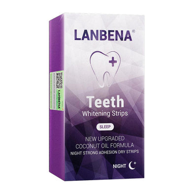 LANBENA Teeth Whitening Strips For Night Oral Hygiene Teeth Veneers White Strips Removes Plaque Stains Easy Carry 7 Pairs / Box