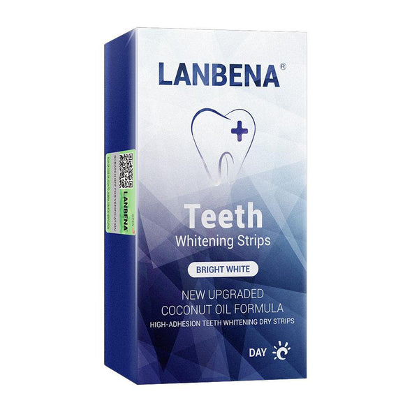 LANBENA Teeth Whitening Strips Daily Use Oral Hygiene Teeth Veneers White Strips Removes Plaque Stains Easy Carry 7 Pairs / Box