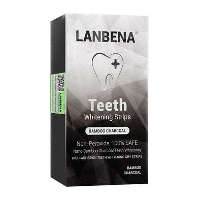 LANBENA Teeth Whitening Strips Bamboo charcoal Oral Hygiene Teeth Veneers White Strips Serum Removes Plaque Stains 7 Pairs / Box