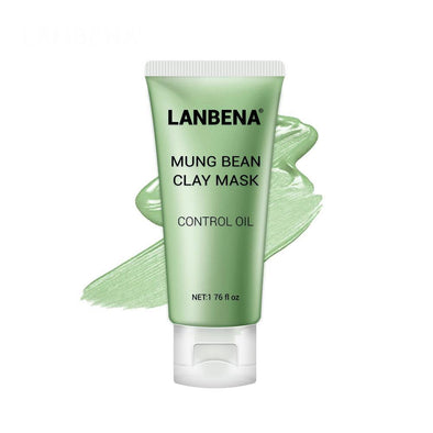 LANBENA Mung Bean Clay Face Mask Reduce Acne Marks Nourishing Deep Cleaning Oil Controlling Clean Pores Remove Grease Skin Care