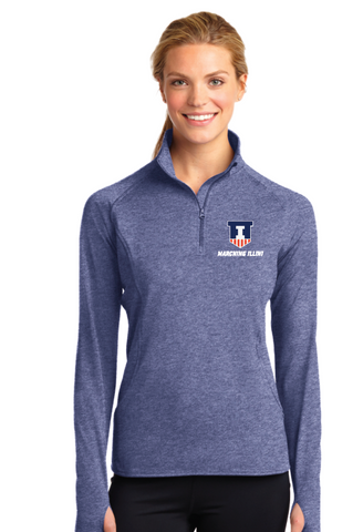 Sport-Tek® Heather Navy Ladies Sport-Wick® Stretch 1/2-Zip Pullover