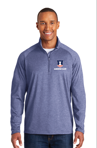 Sport-Tek® Heather Navy Sport-Wick® Stretch 1/2-Zip Pullover