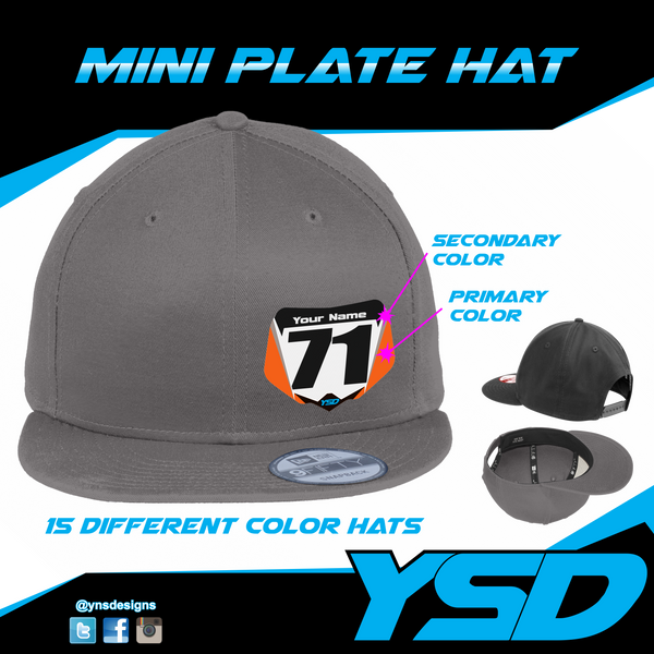 Mini plate Flat bill hat - Y&S Designs, LLC