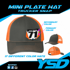 Mini plate Trucker snapback hat - Y&S Designs, LLC