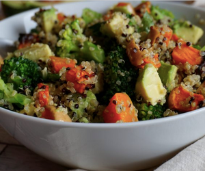 broccoli quinoa avocado and pumpkin