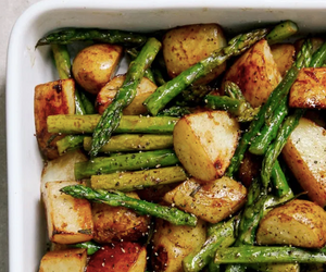 Balsamic Roast Potatoes with Asparagus