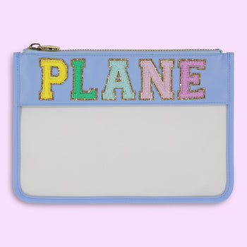 Periwinkle 'Plane' Clear Flat Pouch