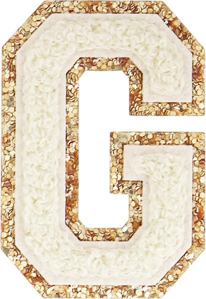 Buttercream Glitter Varsity Letter Patches