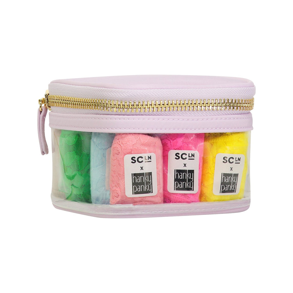 Hanky Panky x SCL Mini Open Top Pouch with 12 Colorful Thongs