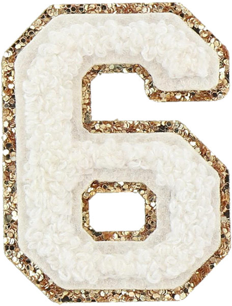 Blanc Glitter Varsity Number Patches