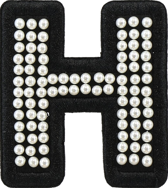 Noir Pearl Letter Patches