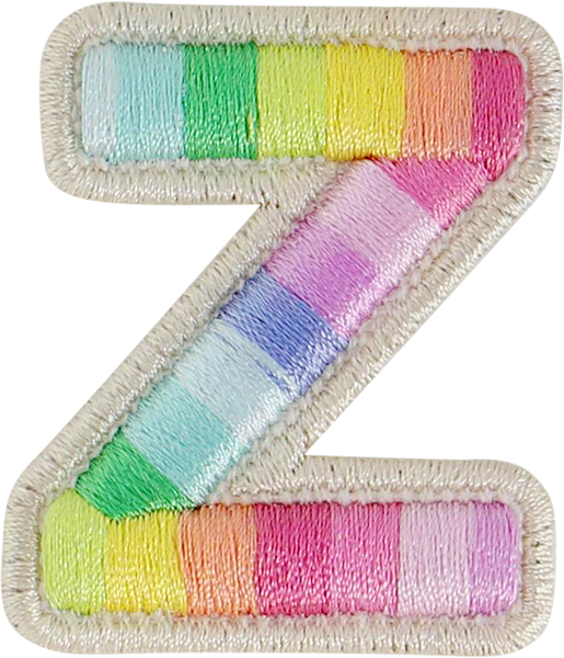 Rainbow Rolled Embroidery Letter Patches